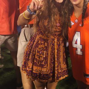 Urban Outfitters Orange and Purple Halter Dress